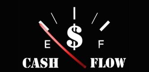 Gas gauge on E representing cash flow