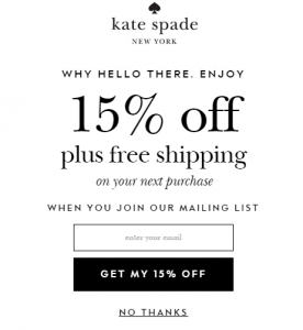Kate Spade email marketing sign-up 15% off plus free shipping when you join mailing list