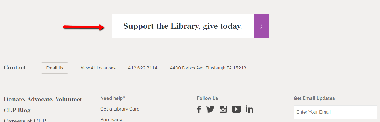 Carnegie library donation button